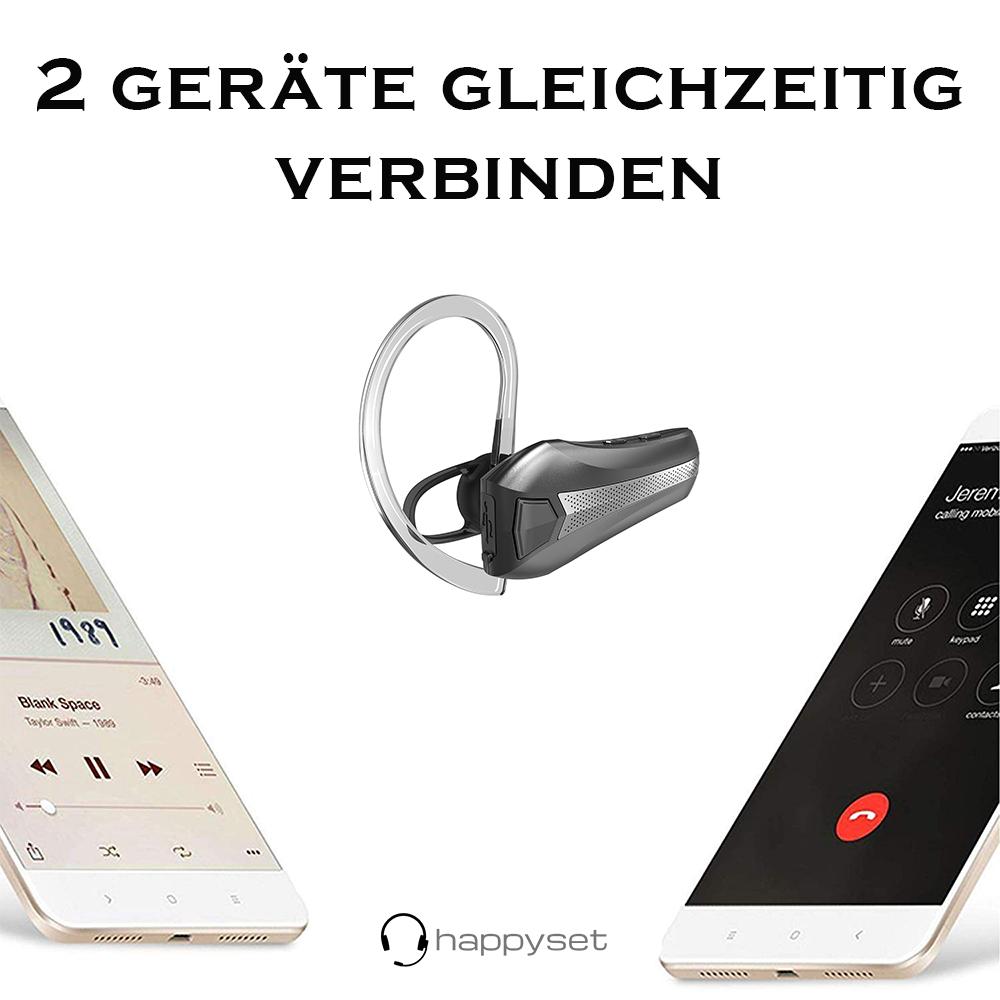 happyset Quick - Bluetooth Headset für 2 Geräte gleichzeitig Auto Taxi KFZ Handy Smartphone iPhone universal