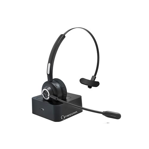 happyset Dock- Bluetooth Headset 5.0 mit Ladestation & Bügel für Videokonferenz Telefonieren Online-Seminare Handy Kopie