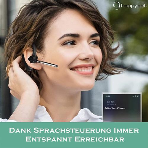 happyset  Plus - Bluetooth Headset 4.2 für Handy PC Tablet Videokonferenz mit Mikrofon iPhone Samsung Huawei